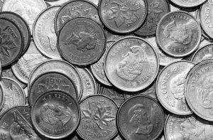 Monedas de Canadà con la Reina Isabel II