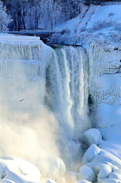 Velo de Novia del Niagara helado por el invierno